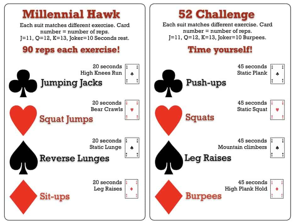 photo of deck of cards workout