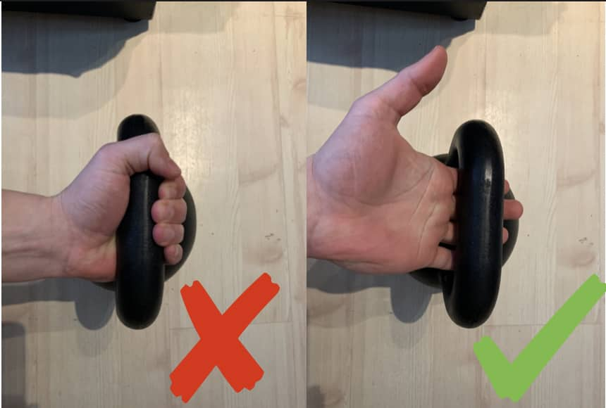 how to hold the weight for eccentric movement