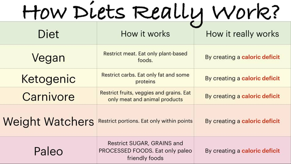 photo of different diets in a table