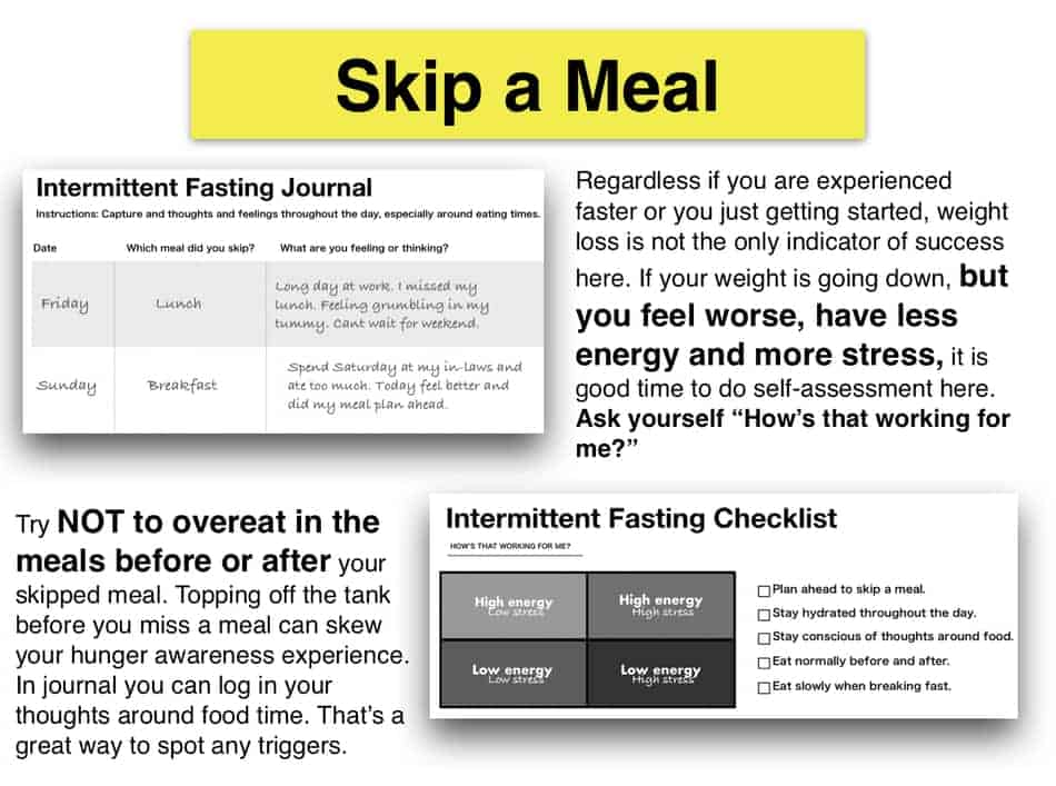checklist of skipping a meal